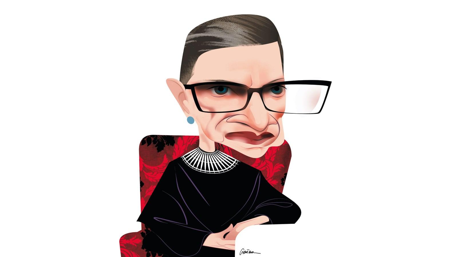 Ruth Bader Ginsburg caricatura de © Luis Grañena