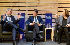 Collboni, Valls i Colau a un debat entre els alcaldables a la Cadena Ser el passat dia 4. © Xavier Jubierre