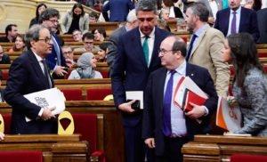 Torra, Iceta i Arrimadas en un ple del Parlament del 2018. © Lluis Gené/AFP