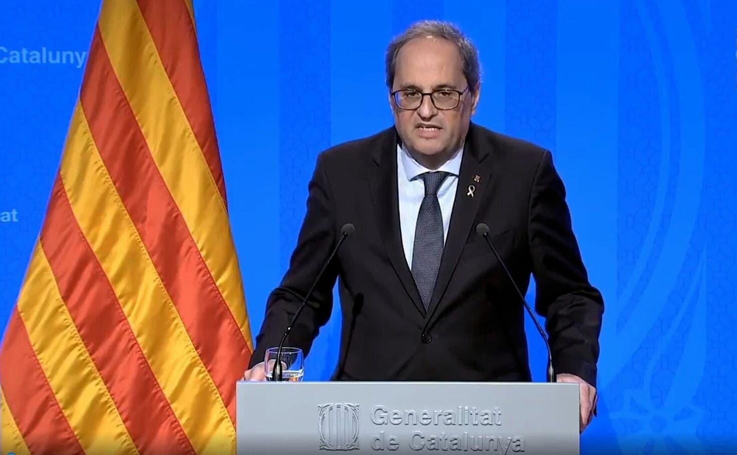 Imagen de vídeo de la comparecencia del Presidente de la Generalitat Quim Torra este domingo