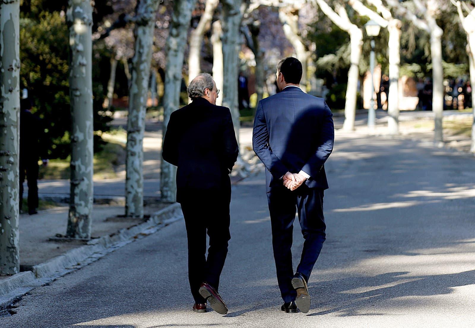 Pedro Sánchez recibe en la Moncloa a Quim Torra el 26 de febrero. Fotografía de Kiko Huesca / Efe