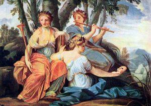 Les muses Clio, Euterpe i Talia, pintades per Eustache Le Sueur.