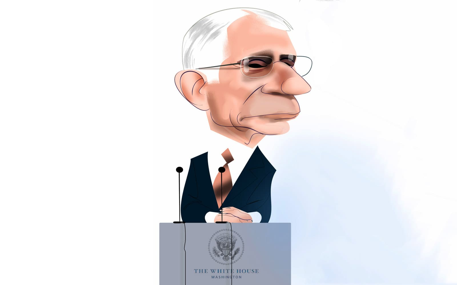 Anthony Fauci. Caricatura de Luis Grañena
