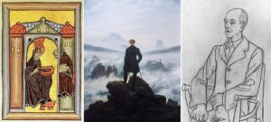D'esquerra a dreta, Santa Hildegarda de Bingen, El caminant sobre el mar de boira de Caspar David Friedrich i retrat de Manuel de Falla de Pablo Picasso