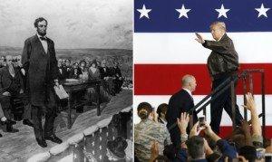 Discurs d'Abraham Lincoln, a Gettysburg, el 1863, per Fletcher C. Ransom, i Donald Trump durant un discurs el 2017. Fotografies de la Library of Congress i de Kimimasa Myama. Efe.