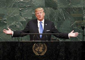 Donald Trump durant la seva intervenció a l'Assemblea General de l'ONU el 2017. Fotografia de Justin Lane. Efe.