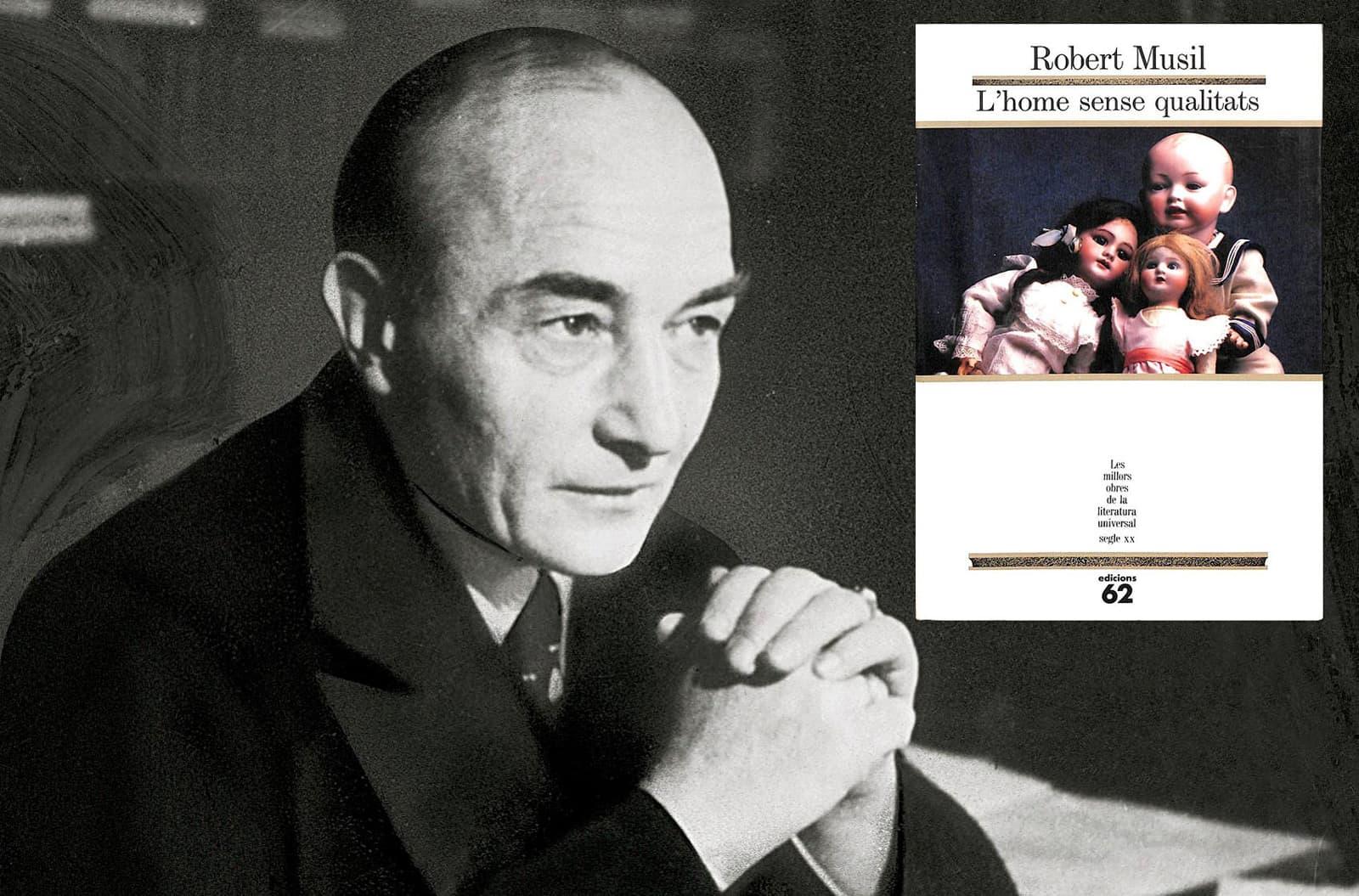 L'escriptor austríac Robert Musil (1880-1942) i el seu llibre L'home sense qualitats. Fotografia de Getty Images.
