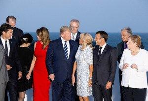 Donald Trump amb altres líders mundials a la reunió del G7, a Biarritz, el 2019. Fotografia de Rita Franca. NurPhoto. Zuma press.