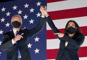 Joe Biden i Kamala Harris a la cloenda de la Convenció Demòcrata a Delaware el 20 d'agost. Fotografia d'Olivier Douliery. AFP. Getty Images.