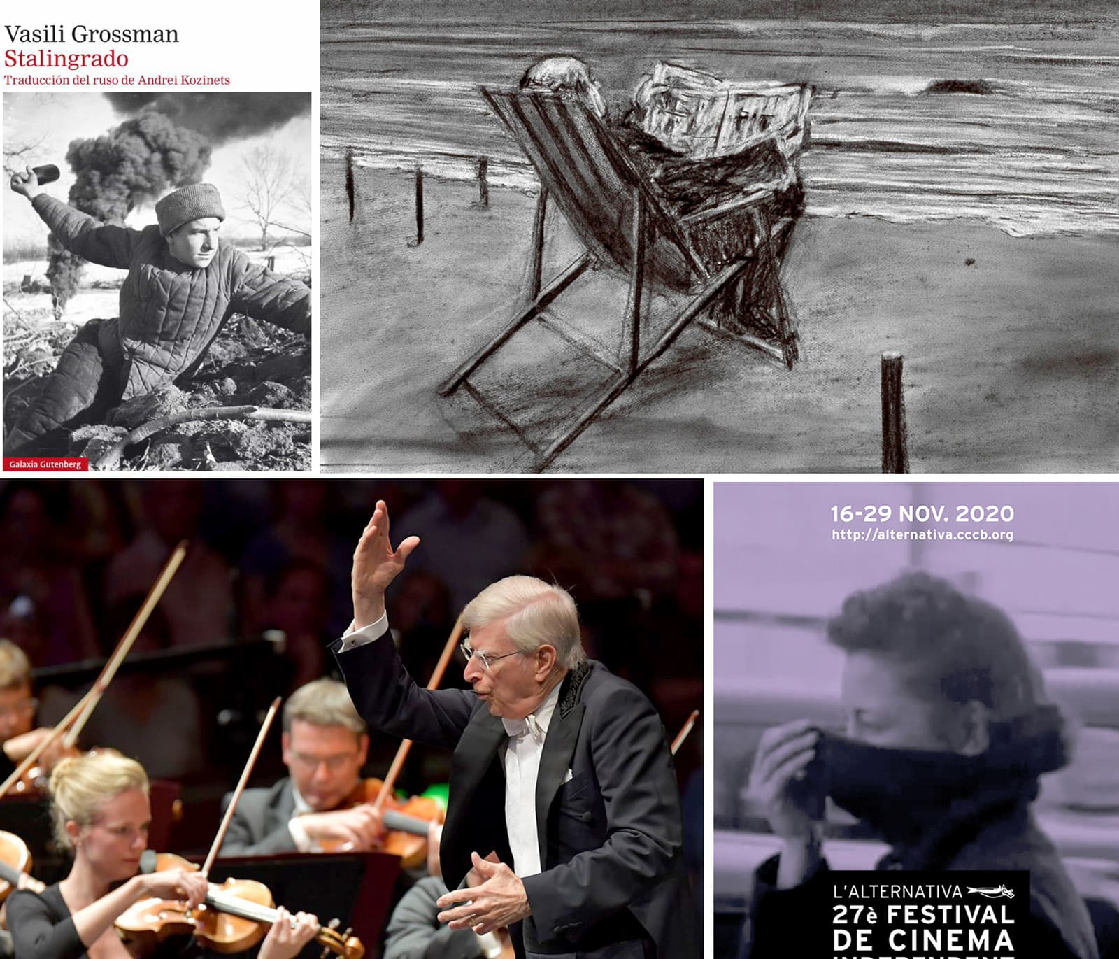 Llibre Stalingrado de Vasili Grossman. Dibuix de William Kentridge. Herbert Blomstedt i l'orquestra de la Gewandhaus de Leipzig. Cartell del Festival de Cinema Independent de Barcelona.