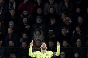 Messi celebrant un gol en un partit de Champions de la temporada 2018-19. Fotografia de John Thys. AFP.
