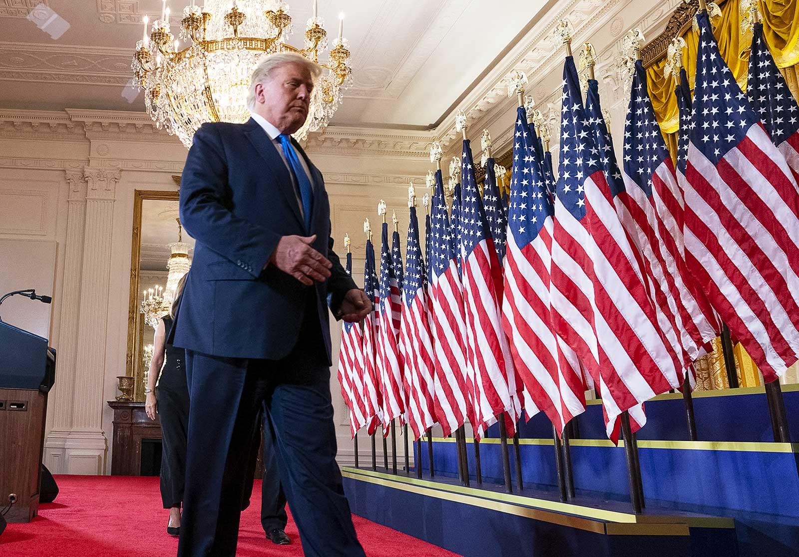 Donald Trump en acabar la compareixença d'aquest matí a la Casa Blanca. Fotografia de Chris Kleponis. CNP.