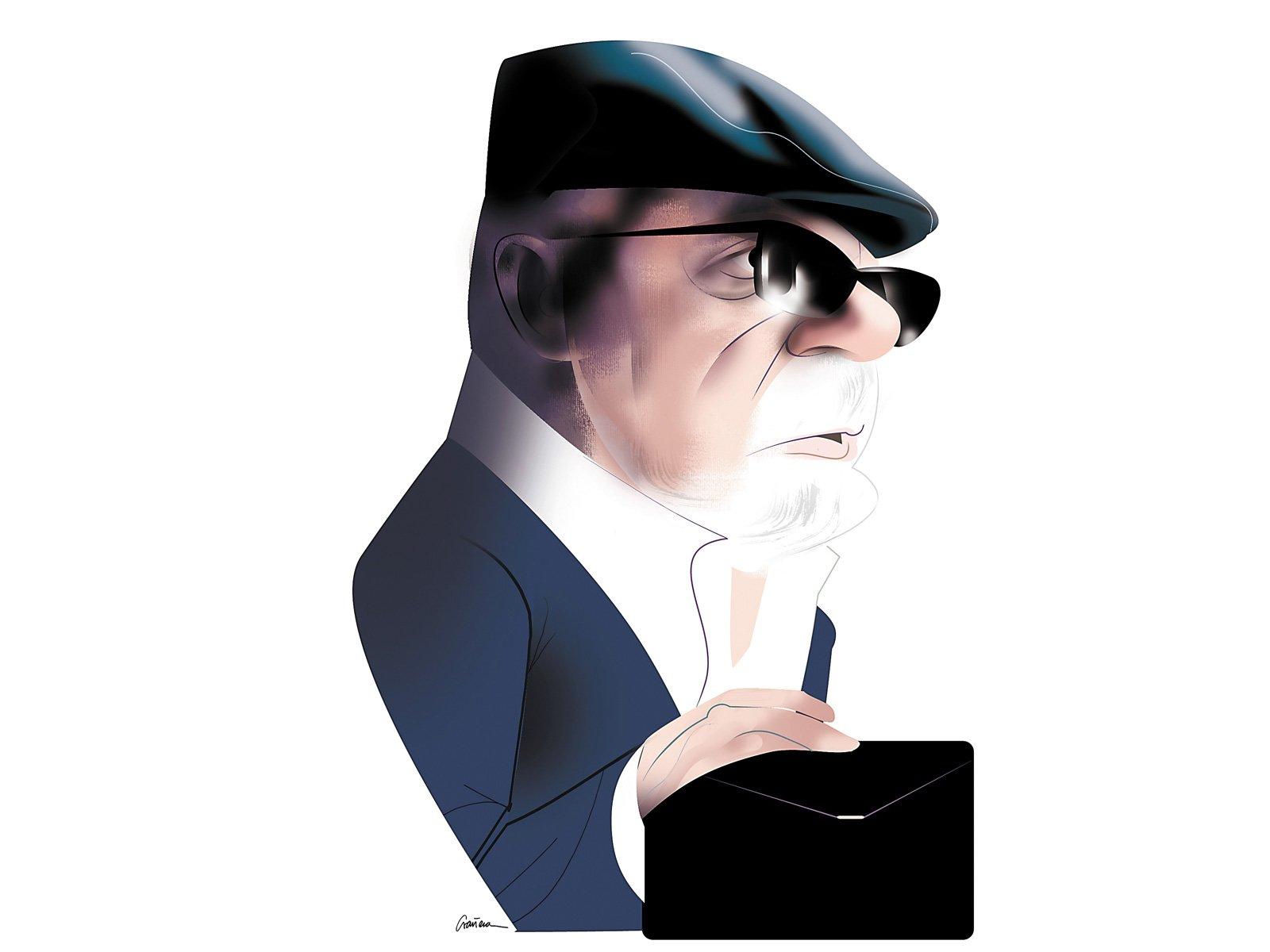 El comisari José Manuel Villarejo. Caricatura de Luis Grañena.