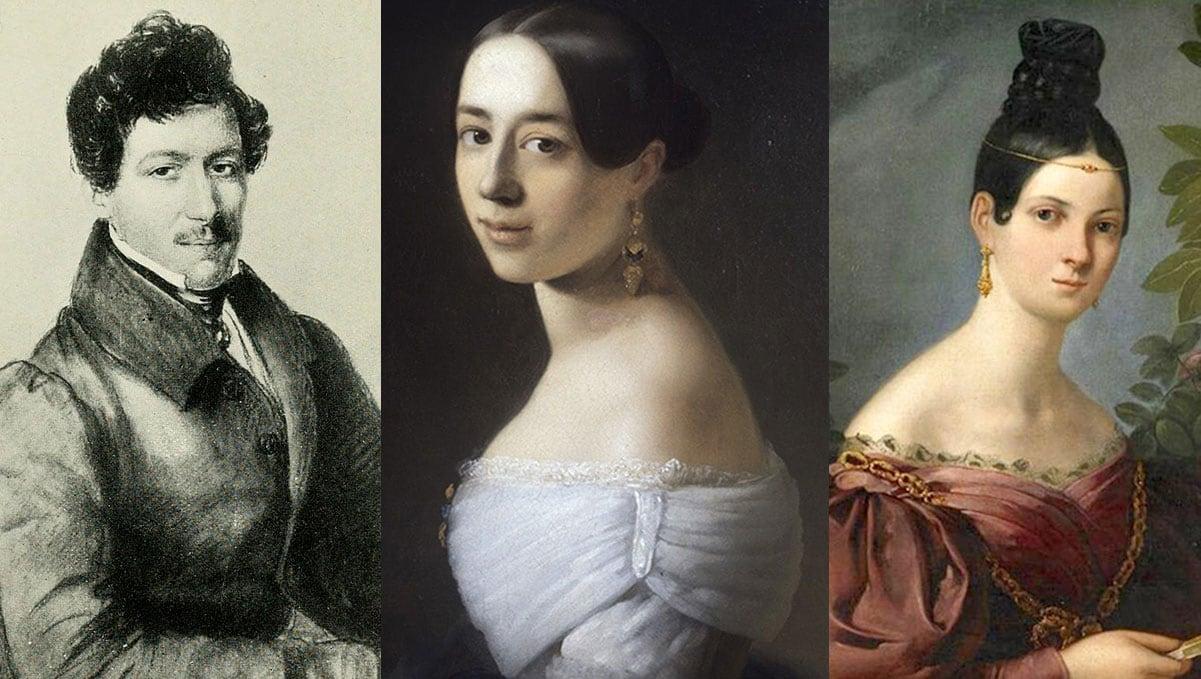 Manuel del Pópulo Vicente Rodríguez i les seves filles María Malibrán i Pauline Viardot. Fotografies de Wikipedia.