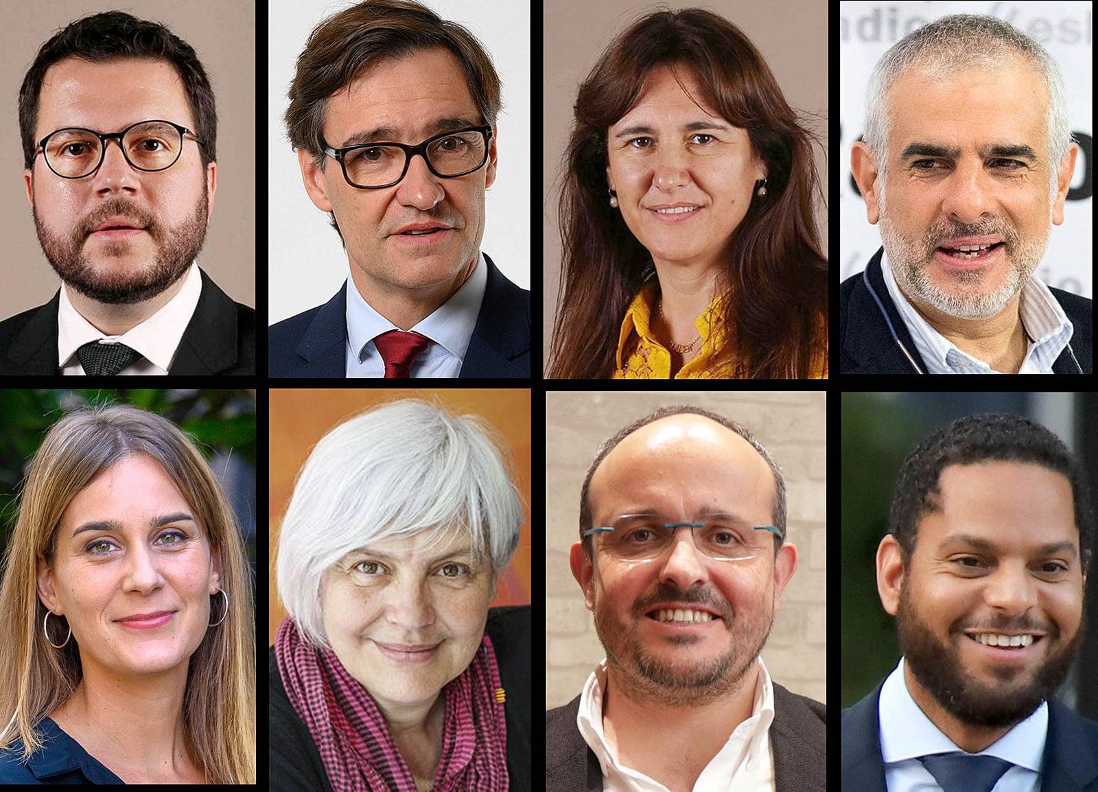 D'esquerra a dreta i de dalt a baix, Pere Aragonès, Salvador Illa, Laura Borràs, Carlos Carrizosa, Jèssica Albiach, Dolors Sabater, Alejandro Fernández i Ignacio Garriga.
