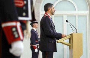 Josep Lluís Trapero en l'acte de lliurament de la Medalla d'Honor del Parlament de Catalunya, després de l'atemptat del 17 d'agost del 2017 a Barcelona. Fotografia d'Alberto Estévez. Efe.