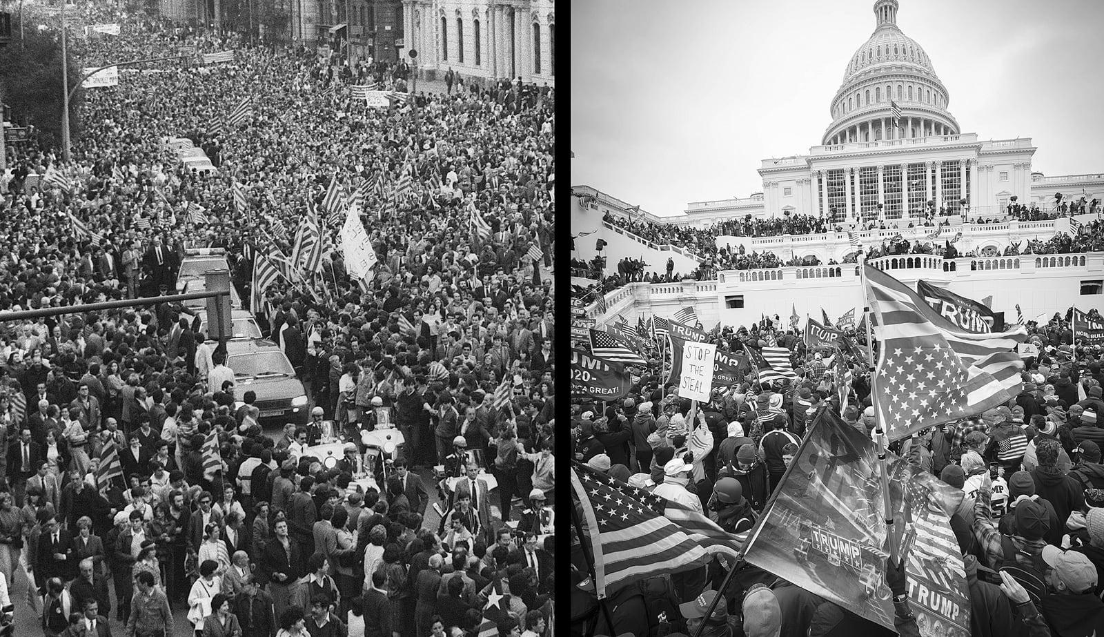 A l'esquerra, manifestació de suport a Jordi Pujol, quan era investigat pel Cas Banca Catalana, el 30 de maig de 1984. A la dreta assalt al Capitoli de Washington en suport a Trump, el 6 de gener del 2020. Fotografies d'Efe i Mark Finkenstaedt. Zuma Wire.