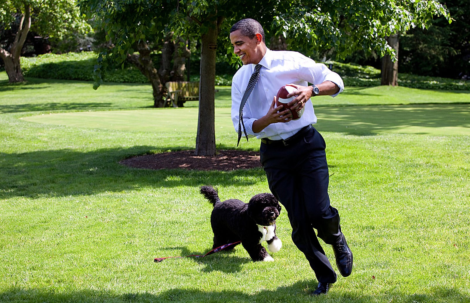Barak Obama jugant amb el seu gos als jardins de la Casa Blanca, maig del 2009. Fotografia de Pete Souza.