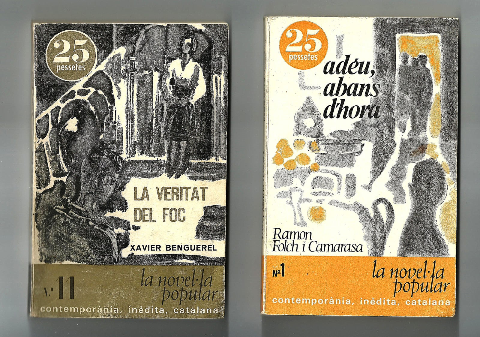 Dos dels llibres de la col·lecció, de 1965, La Novel·la Popular Catalana d'Alfaguara.