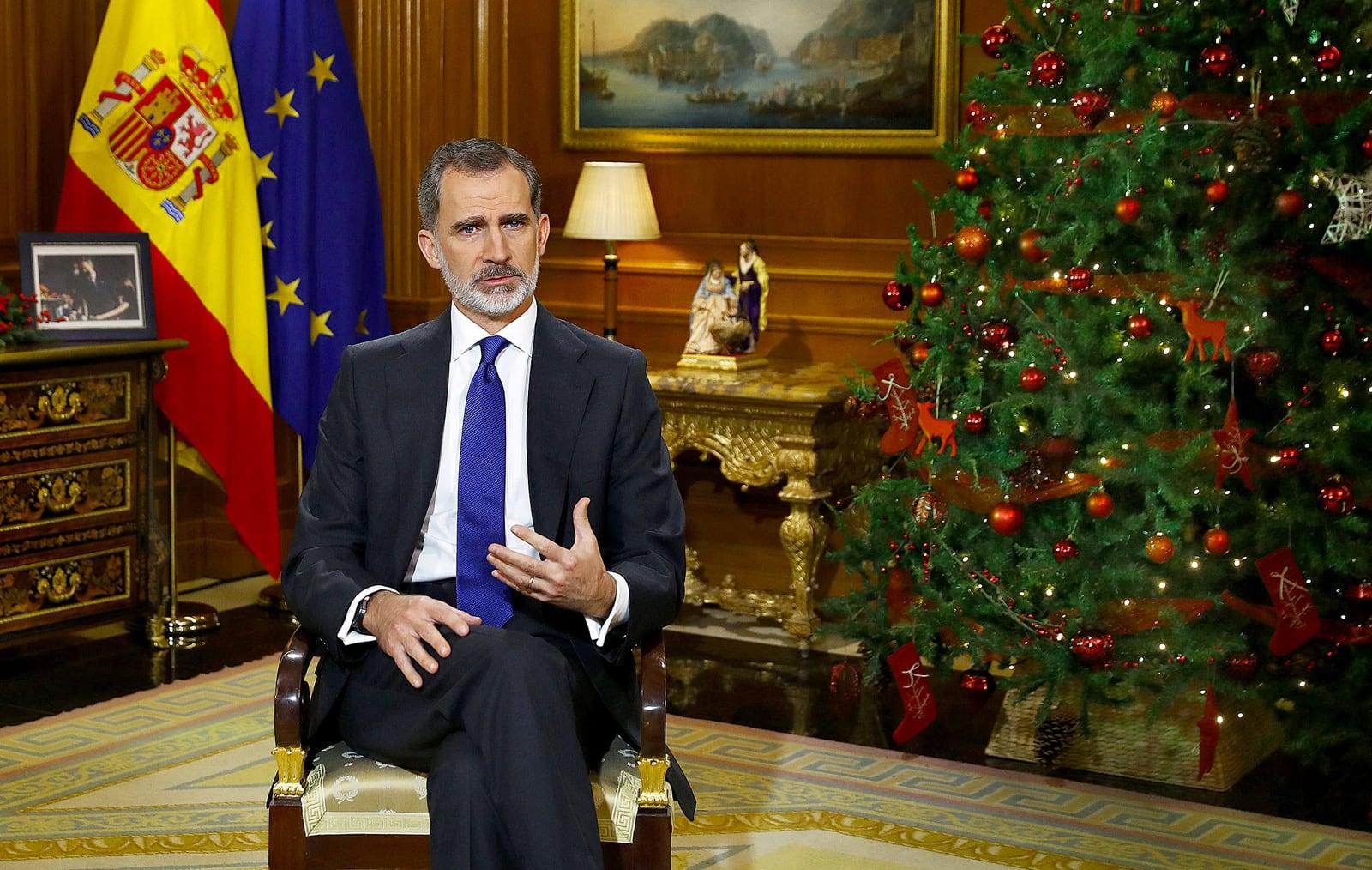 El Rei Felip VI durant el discurs de Nadal, el 24 de desembre. Fotografia de Ballesteros. Efe.