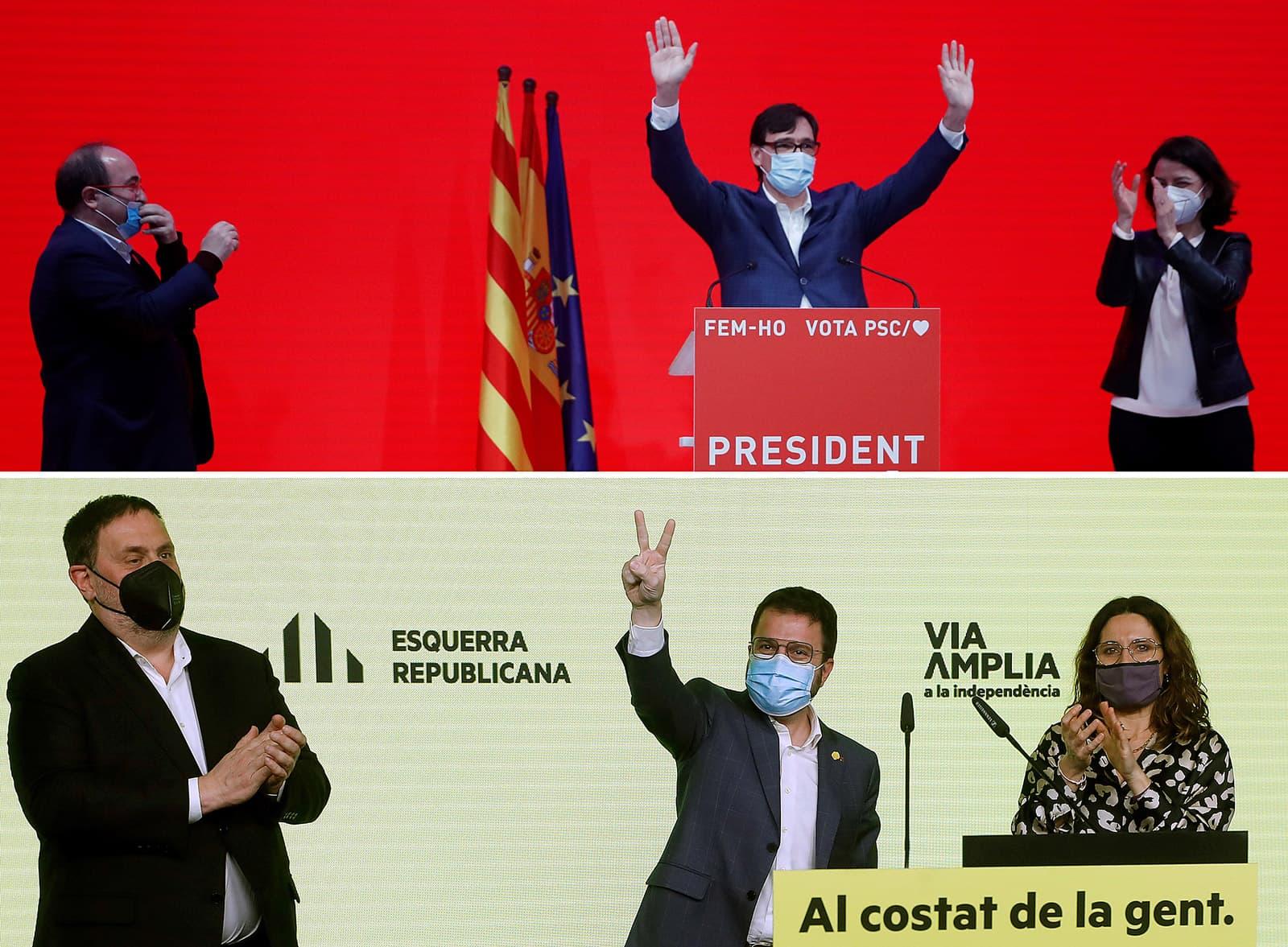 Imatges de la nit electoral a les seus del PSC i d'ERC, un cop coneguts els resultats de les eleccions del 14 de febrer. Fotografies de Toni Albir i d'Alberto Estévez. Efe.