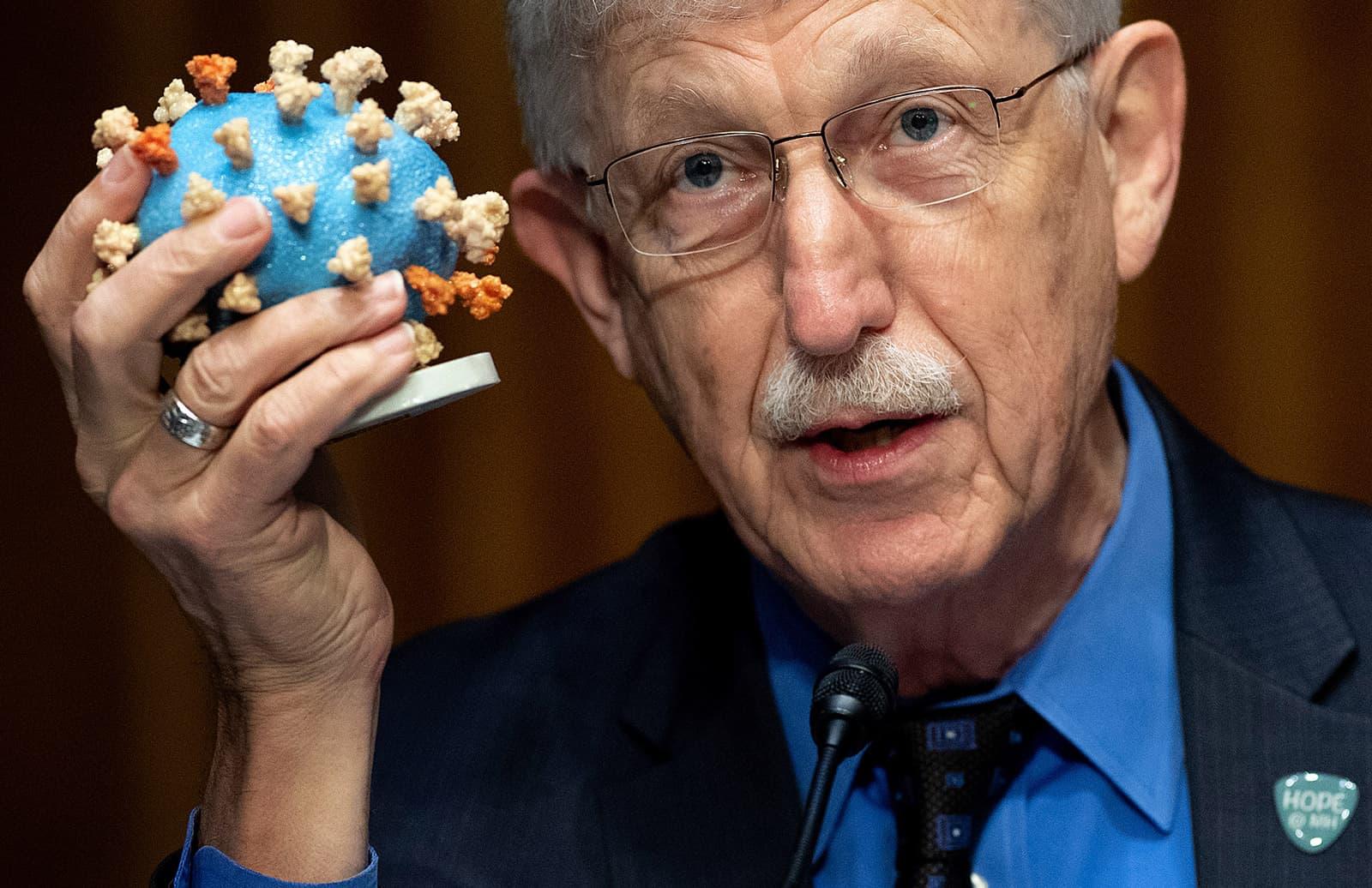 El director dels Instituts Nacionals de la Salut dels Estats Units, Francis Collins, amb una maqueta del virus de la covid-19, en una roda de premsa a Washington, el 2 de juliol. Fotografia de Saul Loeb. Getty Images.