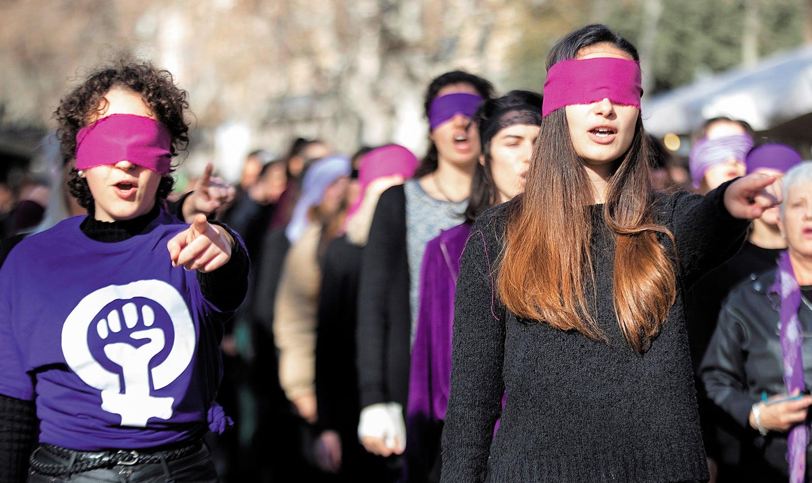 Protesta contra la violència masclista, al centre de Barcelona, el gener del 2020. Fotografia de Marta Pérez. Efe