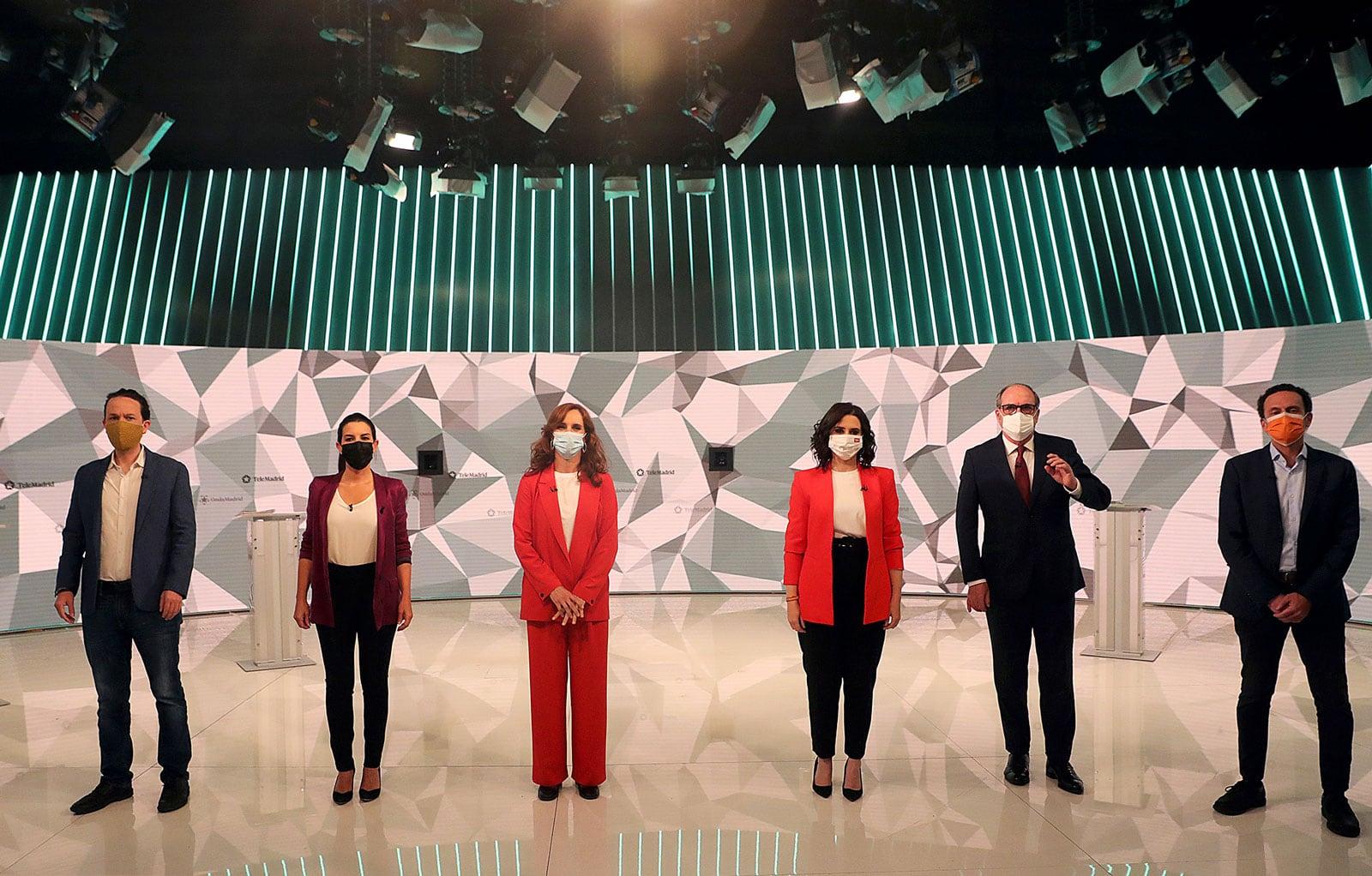 Debat electoral a Telemadrid dels candidats a la presidència de la Comunitat de Madrid, el 21 d'abril Fotografía. de Juanjo Martín Efe.