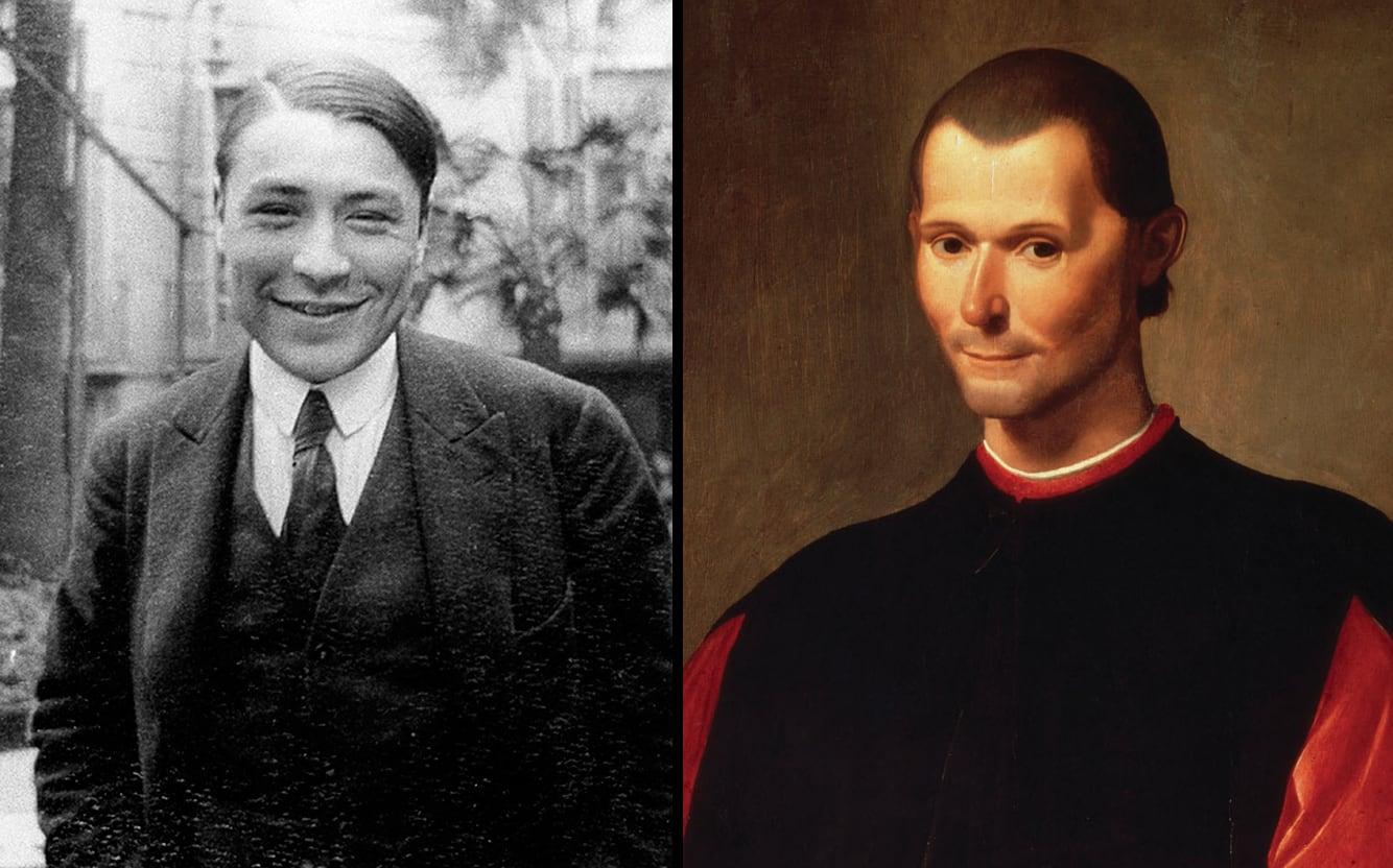 Josep Pla de jove, fotografia de l'Editorial Destino i retrat de Maquiavel de Santi di Tito.