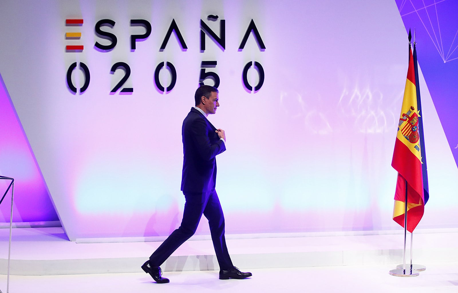 El president del govern Pedro Sánchez a la presentació del projecte España 2050 al Museu d'art Reina Sofía, el passat mes de maig. Fotografia de Juan Carlos Hidalgo. Efe.