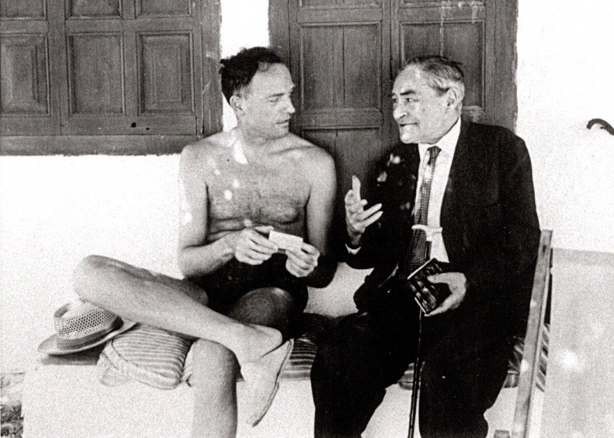 Manuel Ortínez i Josep Pla a Aigua Xelida. Fotografia d'autor desconegut. Fundació Josep Pla. Col·lecció Josep Vergés.