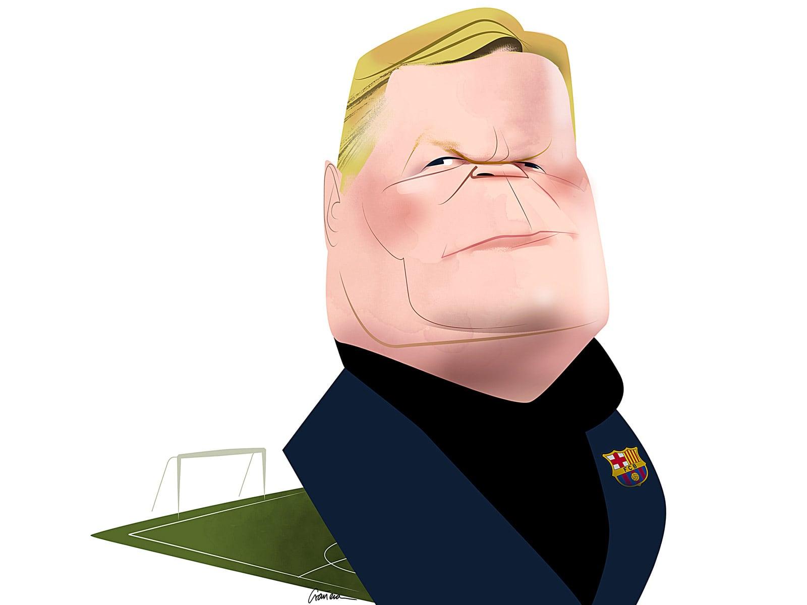 Ronald Koeman. Caricatura de Lluis Grañena.