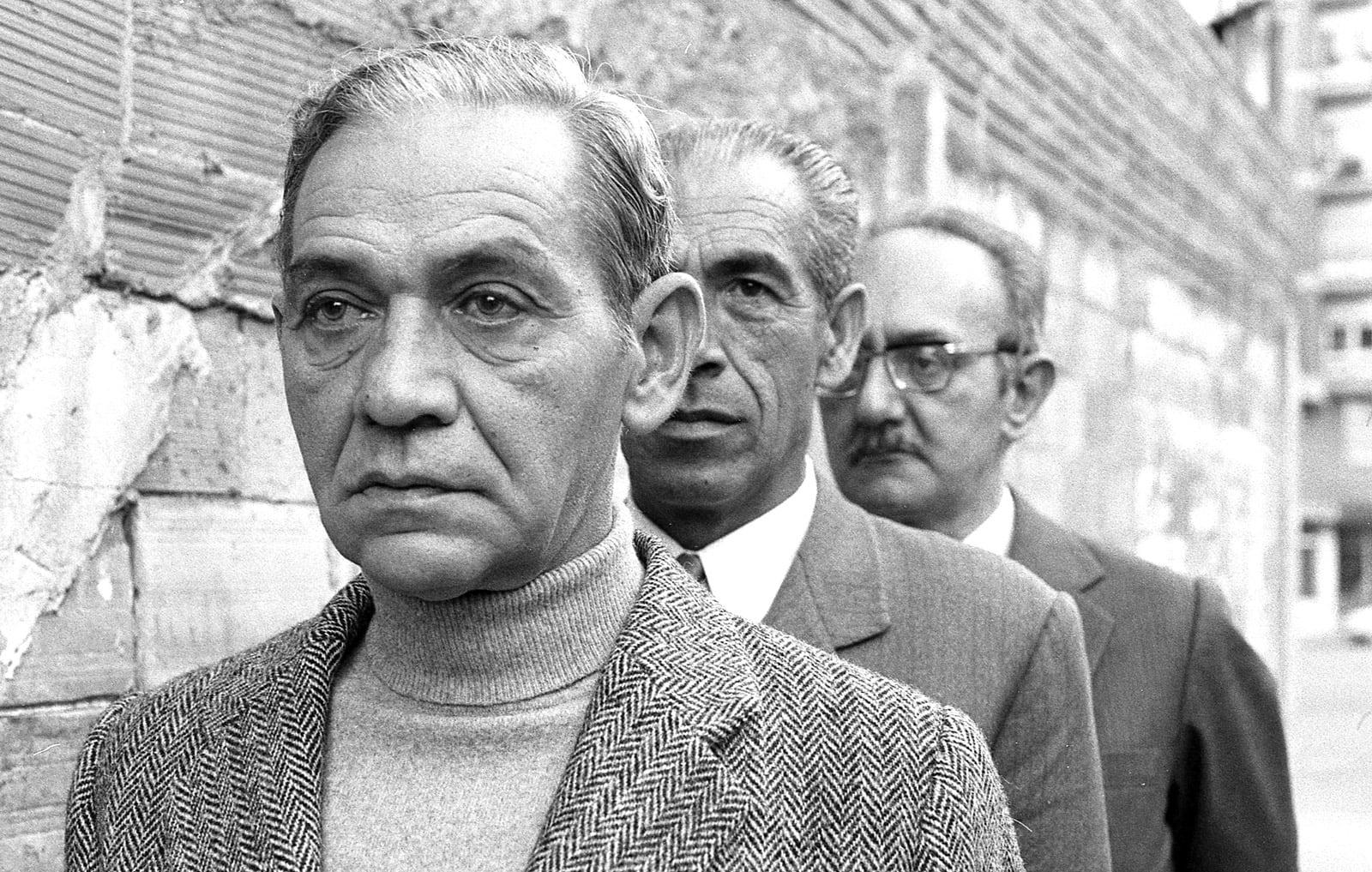 Exdeportats catalans als camps nazis, el 1972. D'esquerra a dreta Ferran Planes, Joan Pagès i Joaquim Amat-Piniella.