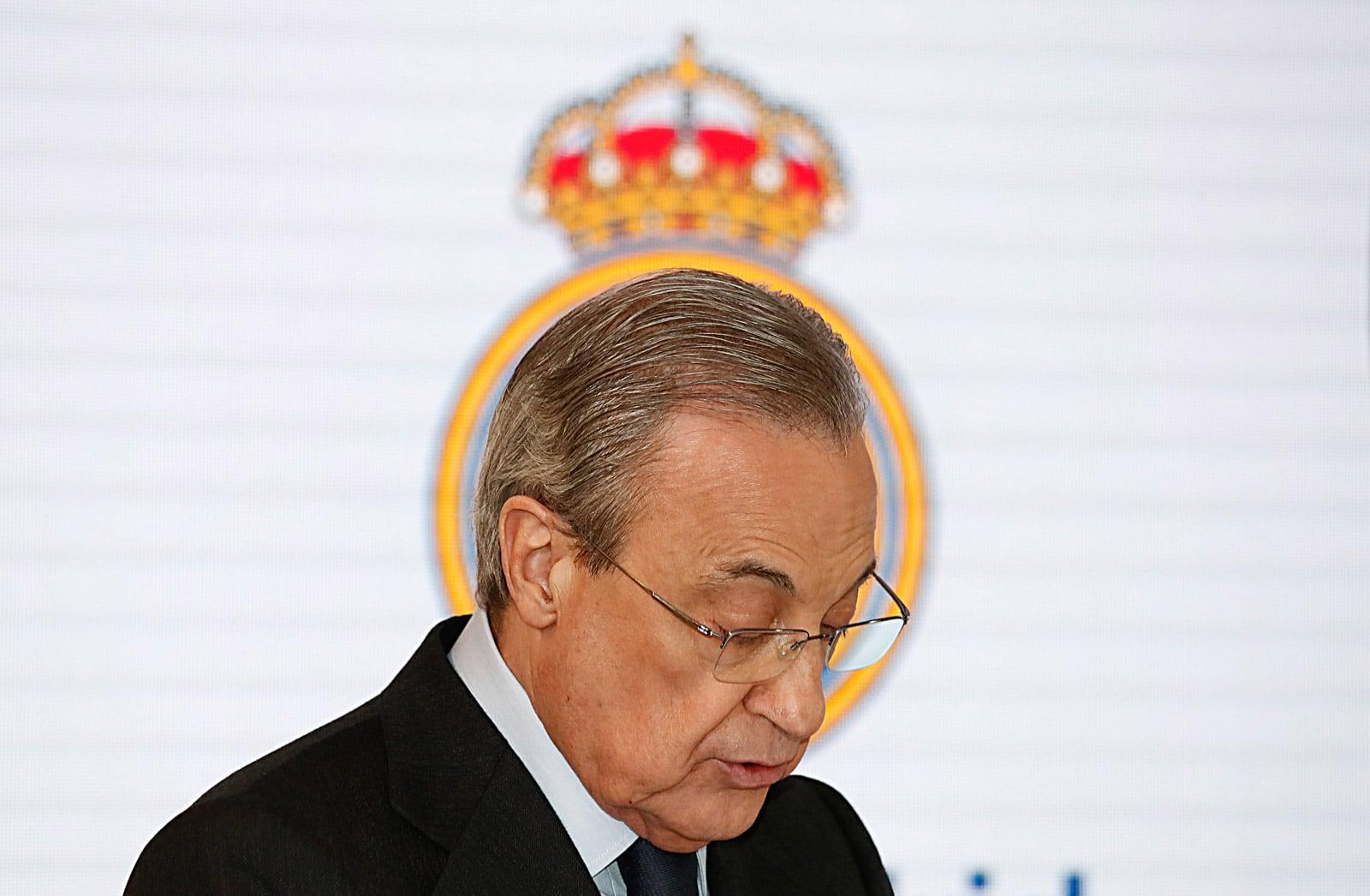 Florentino Pérez en una compareixença a l'estadi Bernabeu, el desembre del 2019. Fotografia de Zuma Wire. Efe.