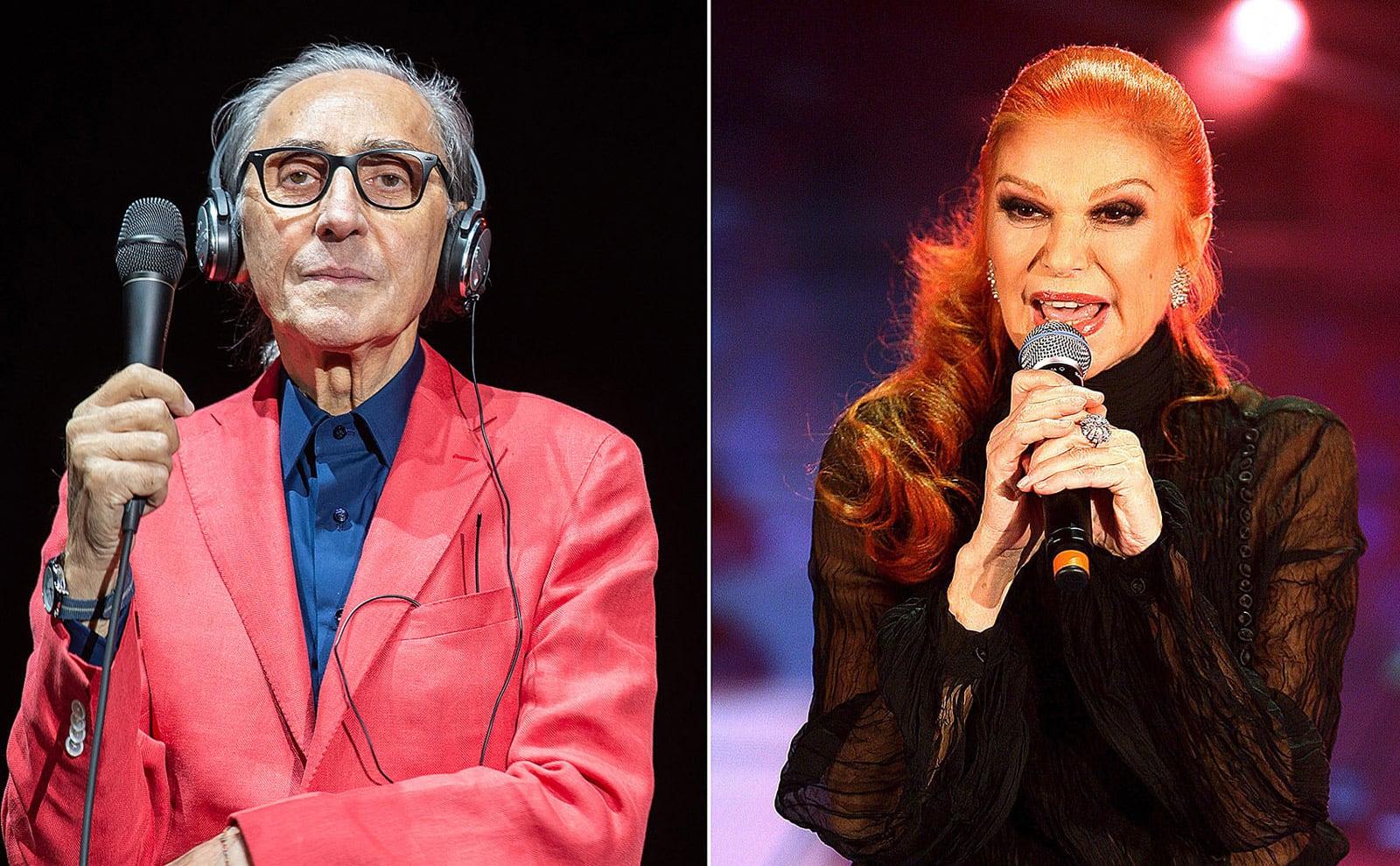 Franco Battiato en un concert a Milà, el 2016 i Milva a Sanremo, el 2007. Fotografies d'Elena Di Vicenzo. Zuma Press i Claudio Onorati. Efe.