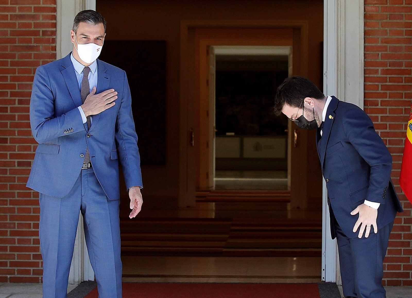Trobada entre Pedro Sánchez i Pere Aragonès, a la Moncloa, el 29 de juny, després dels indults als polítics presos. Fotografia de Juan Carlos Hidalgo. Efe.