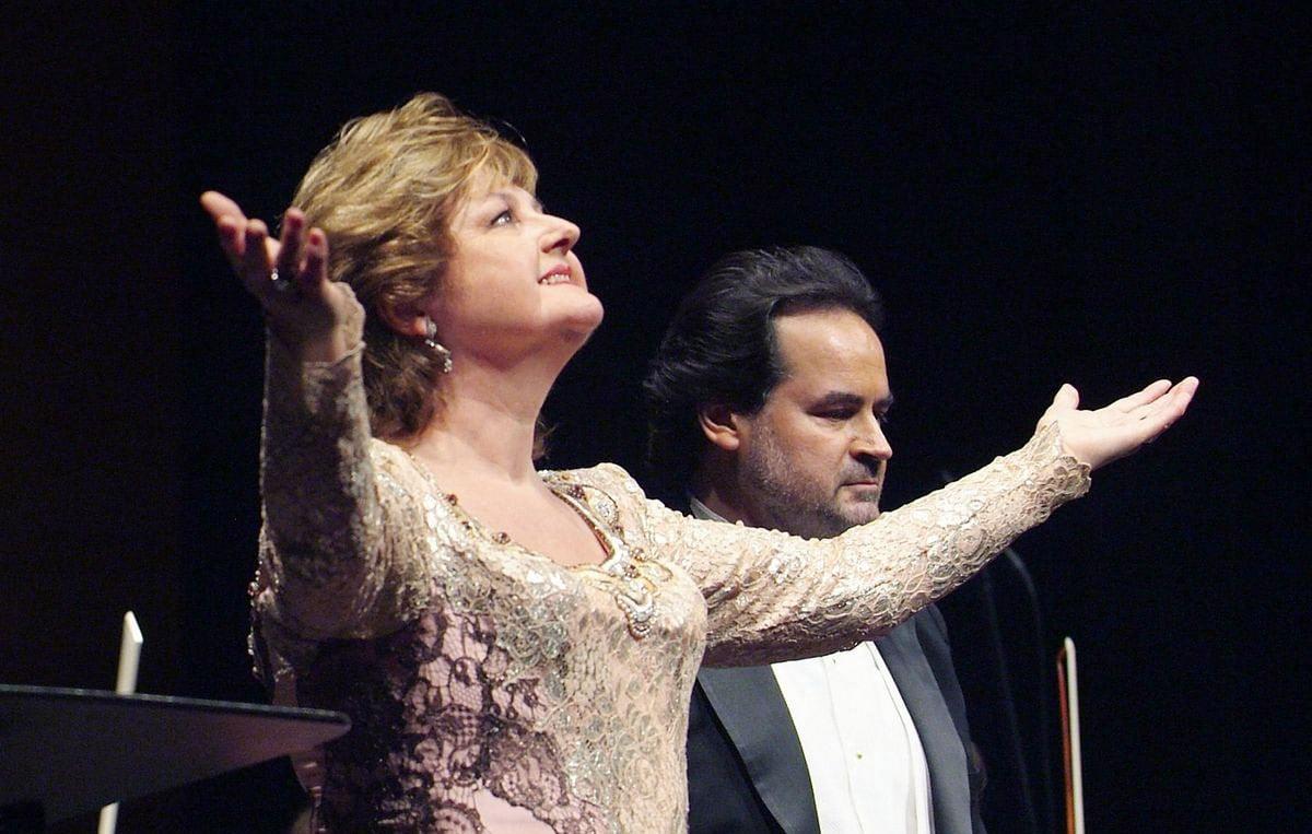 La soprano Edita Gruberova en una actuació al Liceu. Fotografia d'Antoni Bofill.